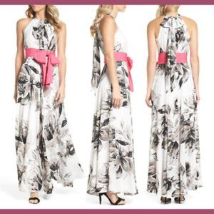 Eliza J Chiffon Maxi Dress Gown in Floral White